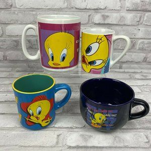4 Tweety Bird Looney Tunes Coffee Soup Mugs XXL